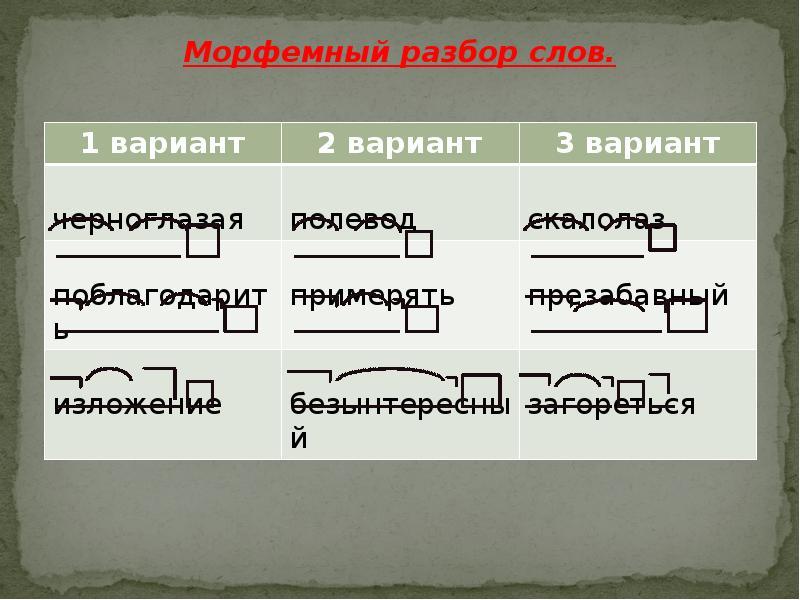 презентация на тему морфемный разбор слова 5 класс