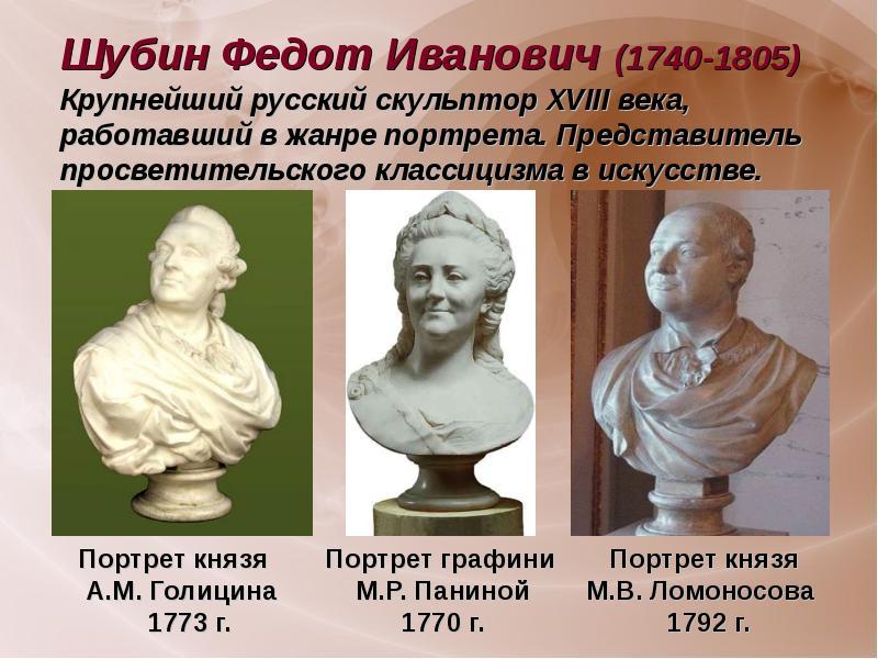 Шубин федот иванович (1740-1805) крупнейший русский скульптор xviii века, работавший в жанре портрета