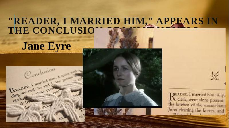 jane eyre conclusion Jane eyre charlotte bronte jane eyre is a novel by charlotte brontë jane eyre literature essays are academic essays for citation these papers were written primarily by students and provide critical analysis of jane eyre b.
