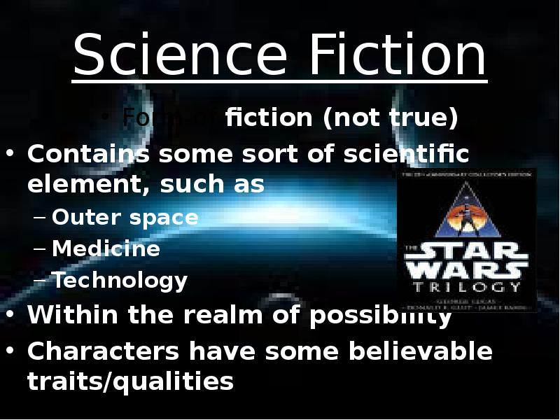 essay on science fiction Throughout the past couple of centuries science fiction has become one of the most popular genres worldwide thousands of people of different age, gender, racial and ethnical origin submerge into a world where the level of technological development is incredibly high, and where the machines often seem to dominate their creators, humans.