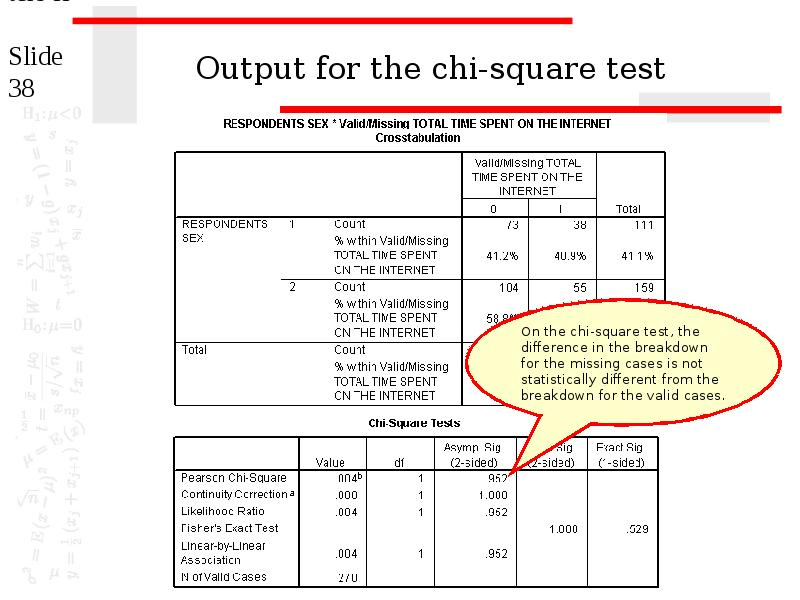 the chi square test A description of how to use the chi square statistic including applets for calculating chi square values.