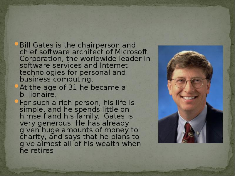 an introduction to the life and career of bill gates Bill gates' net worth is estimated to be $90 billion in real time, and although jeff bezos has taken the number one position for now, gates is still worth $90 billion early life bill gates was born in on the 28th october, 1955, in seattle, washington.