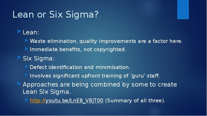 six sigma quality and application of lean Six sigma is a quality-control concept originally developed by motorola in the 1980s it is precise and data-driven, and makes heavy use of unique statistical methods to identify defects in any process and eliminate them.