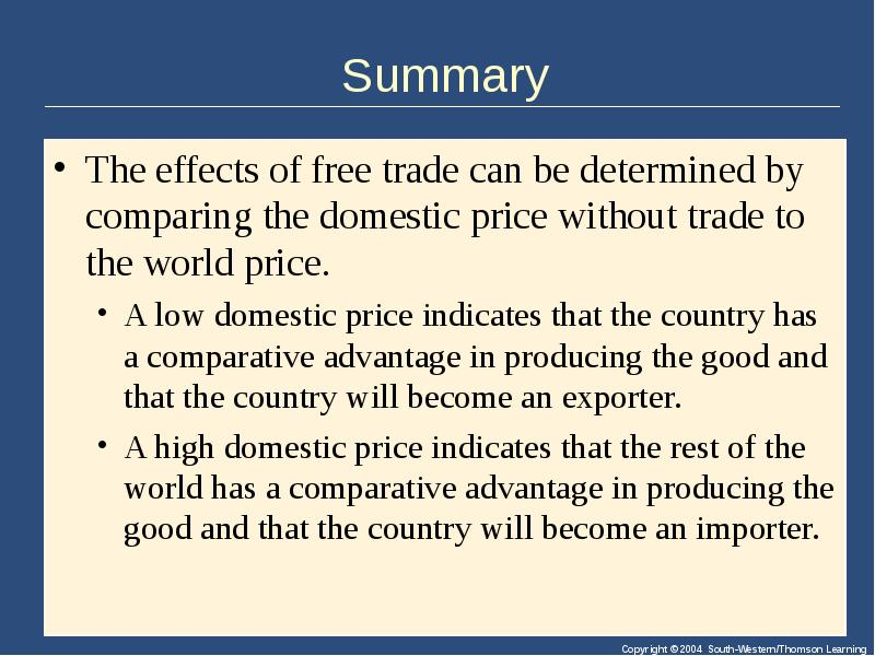 international trade summary Information summary back : provide special customs procedures as a public service to help firms conduct international trade related operations in competition with.