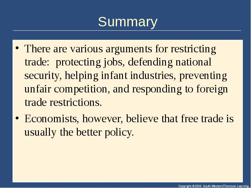 a description of the effects of trade restrictions to a countrys macro economic objectives Government economic policy: government economic policy, measures by which a government attempts to influence the economy the national budget generally reflects the economic policy of a government, and it is partly through the budget that the government exercises its three principal methods of establishing control: the.