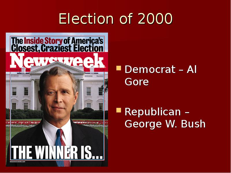 a comparison of democratic candidate al gore and republican george w bush Also the brother of republican candidate george bush home state of democratic presidential candidate al gore start studying 2000 presidential election.