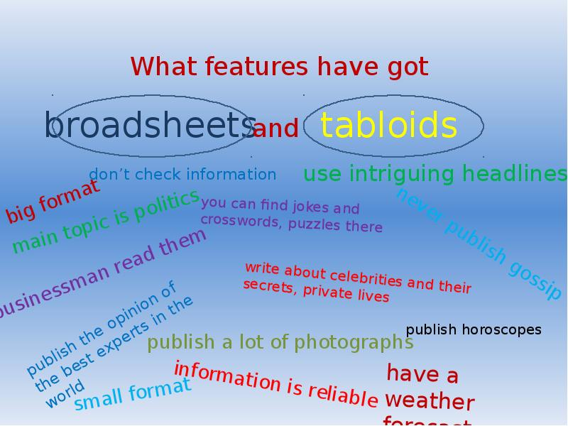 media assignment comparing tabloid and broadsheet For the best answers, search on this site   a tabloid newspaper focuses on local/national news as well as human interest stories a broadsheet is aimed at a more intellectual readership with news from the international scene, finance and politics.