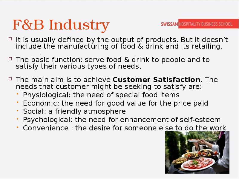 assignment on food beverage operations This unit introduces the learner to the practical aspects of food and beverage production and service due to the nature of the job, hospitality managers need to have the basic practical skills to enable them to operate effectively within a kitchen and restaurant operation.