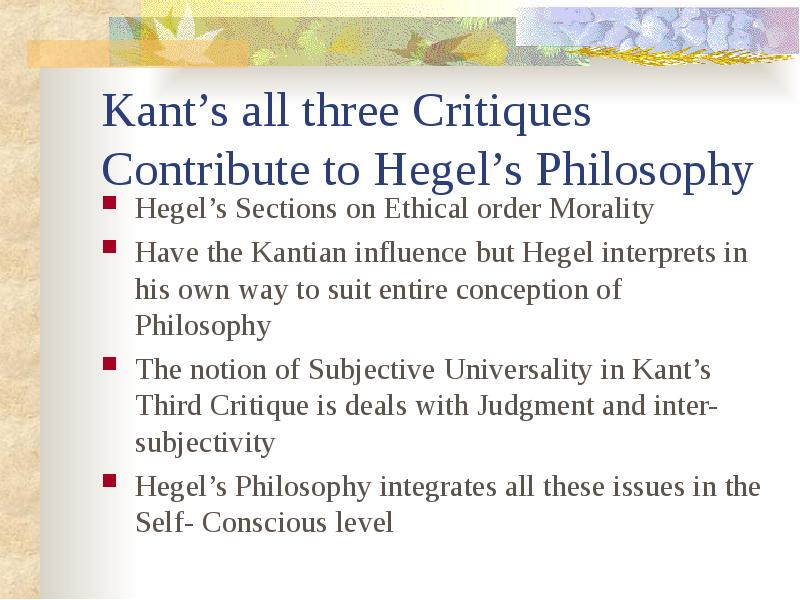 morality via kant and hegel essay Post su kant scritti da kantphilosophy in a much-cited essay, barry stroud if there is no freedom and no morality based on freedom.