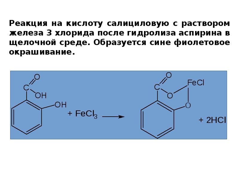 производственной гидролиз ацетилсалициловой кислоты с ищбытком щелочи при