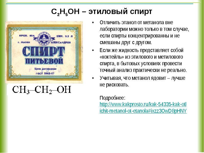 Отличить этиловый спирт от этилового в домашних условиях 274