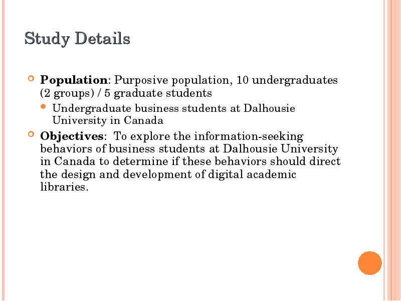 a study of the information seeking behavior of undergraduate students essay School context, student attitudes and behavior, and academic achievement figure 1 theoretical model 3 that are associated with student success this is followed by.