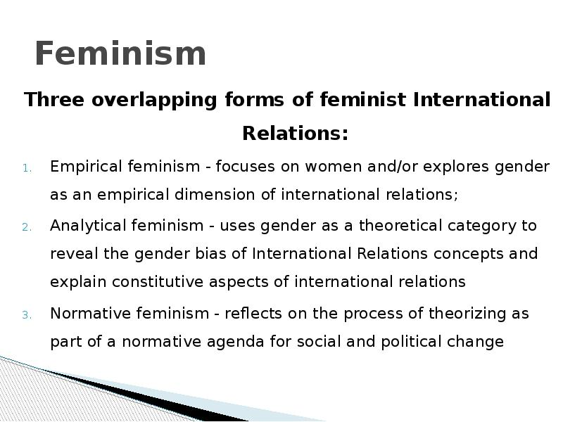 gender theory in international relations Explain the relatively late arrival of feminist approaches to the study of international relations theory.