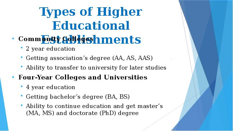 typology of higher education in the There is no national system of higher education in the united states there are over 2100 various higher educational institutions, including colleges, technological institutes and universities the average college course of study is 4 years, the academic year is usually 9 months or 2 terms.