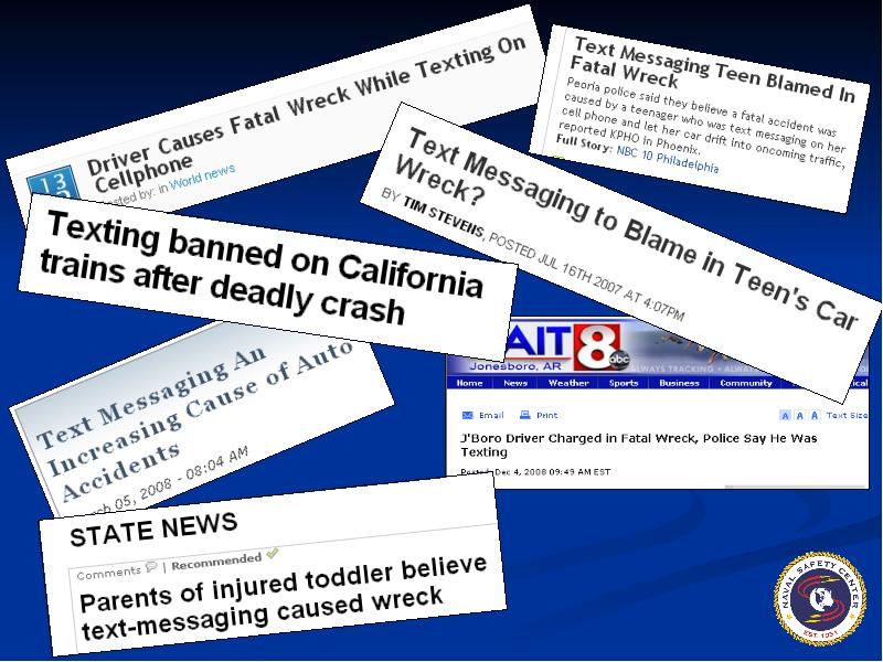research on effects of texting to Cause and effects of texting while driving texting while driving is a major issue affecting today's society texting has grown to be one of the biggest forms of communication among people, despite the fact that some of these messages might be sent from behind the wheel of a moving vehicle.