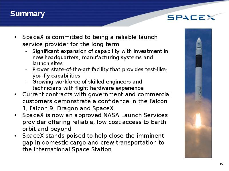 capabilities amp services spacex - 800×600