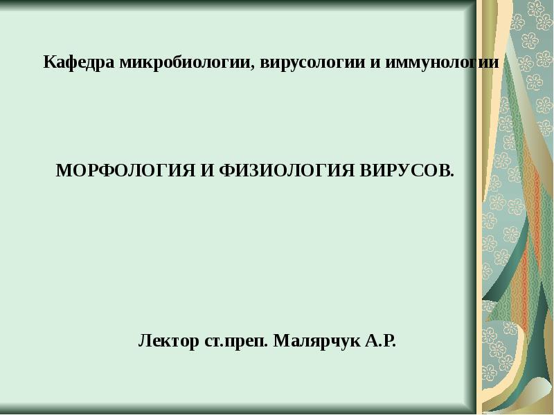 Реферат морфология и физиология вирусов 7852