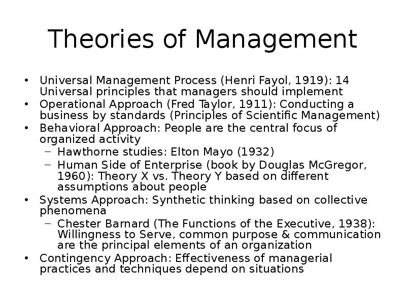 henry fayol theory of management essay Henry fayol's management theory depicts the following perspectives frame an objective, planning of strategy , prepare an efficient structure, provide training, set guidelines and bring them together to meet those objectives.