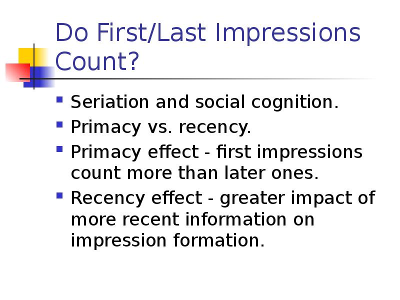 impact of a first impression First impressions and positive personal impact positive personal impact is one of the five keys to success that i discuss in straight talk for success you create positive personal impact in three ways: 1) creating and building your unique personal brand 2) being impeccable in your presentation of self and 3) understanding and following the.
