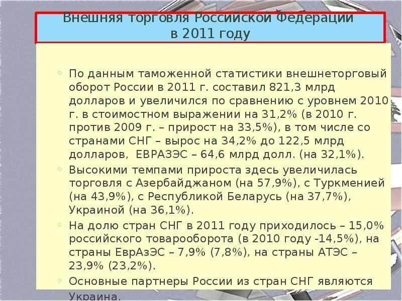 внешняя торговля россии в 2011 году один