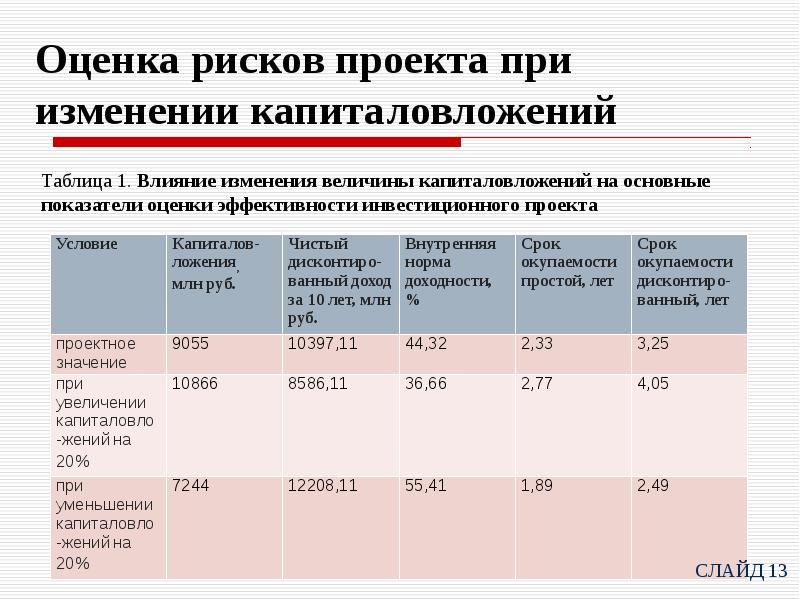 оценка экономической эффективности и рисков проектов сведения ОКАТО: