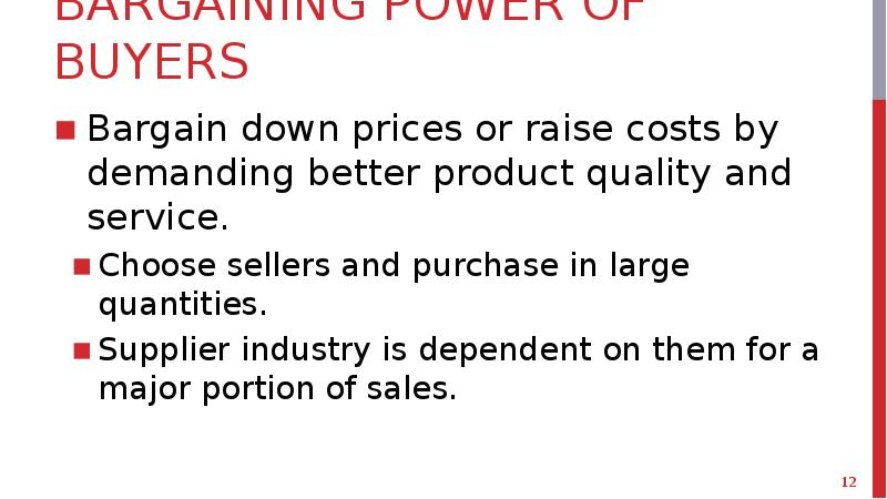 bargaining power of buyers in newspaper industry The power of buyers can be summed up in one word: wal-mart because 10 cents of every consumer dollar is spent at wal-mart, any company in the consumer goods industry must contend with the force of its buying power.