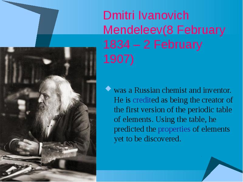 the life and accomplishments of dmitri mendeleev