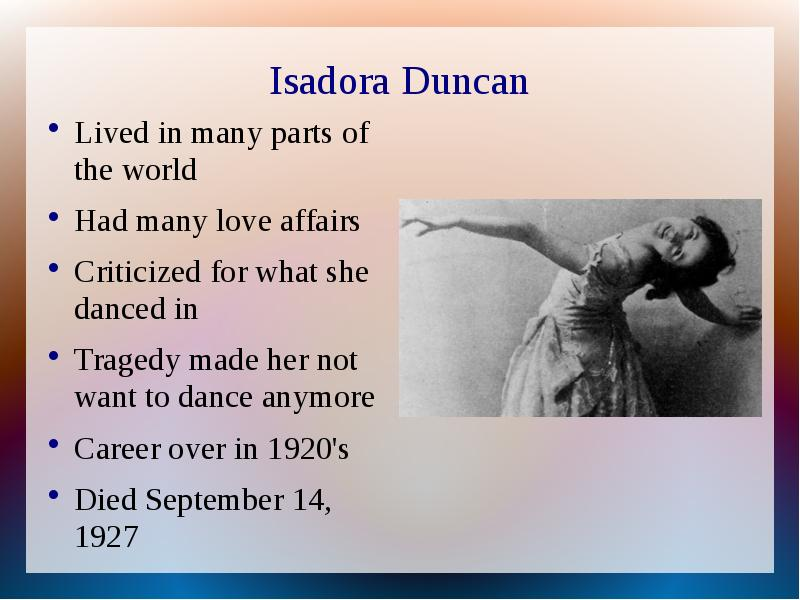 isadora duncan love and art essay The myths of isadora duncan love and art when i think of love i usually think about finding the right person to be with and having feelings of never wanting to let that person go and always wanting to be around the person i lovei also think of.