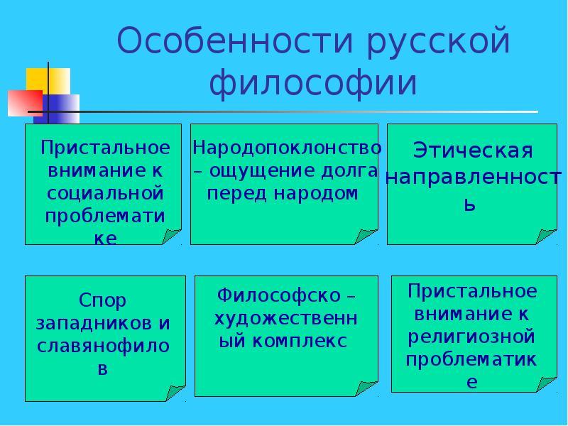 основные черты русской философии 19 века рядом