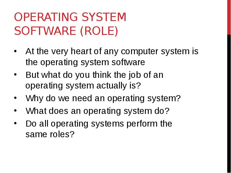 why do operating systems differ It's important to understand the differences between linux and other operating systems, such as windows 95/98, windows nt, os/2, and other implementations of unix for the personal computer.