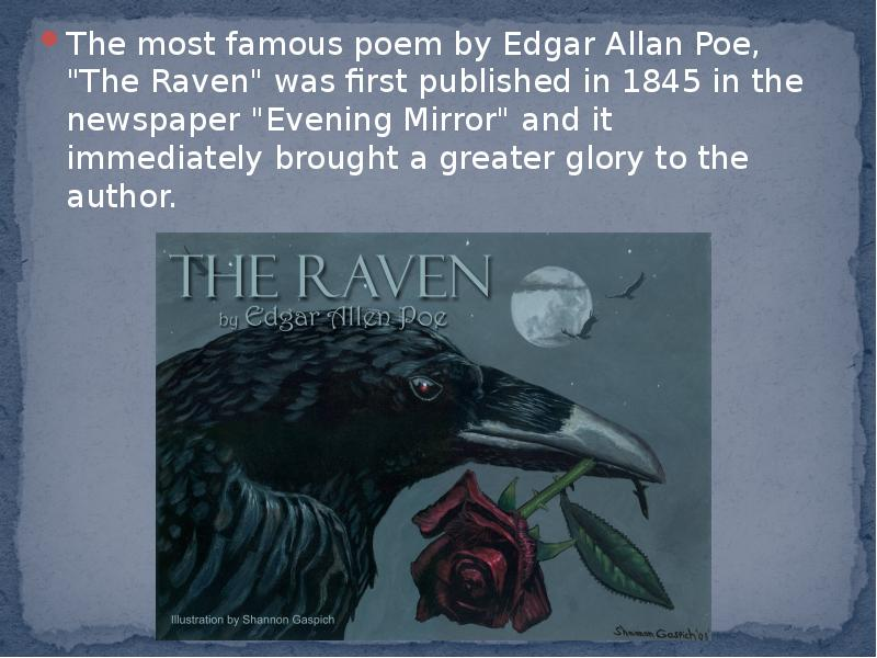 a comparison of herman melvilles barleby and edgar allen poes the raven Edgar allan poe's only novel - a classic adventure story with supernatural elements but it was edgar allan poe, born 1809, who signals the beginning of what would his poem, the raven, was a popular sensation much of his other work was ignored or derided.