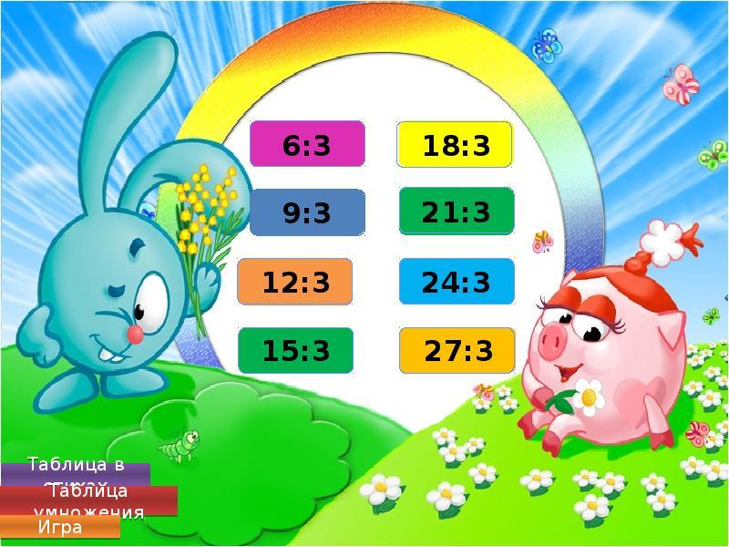 таблица умножение считать игра
