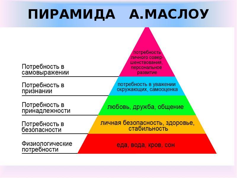 Перый уровень пирамиды маслоу