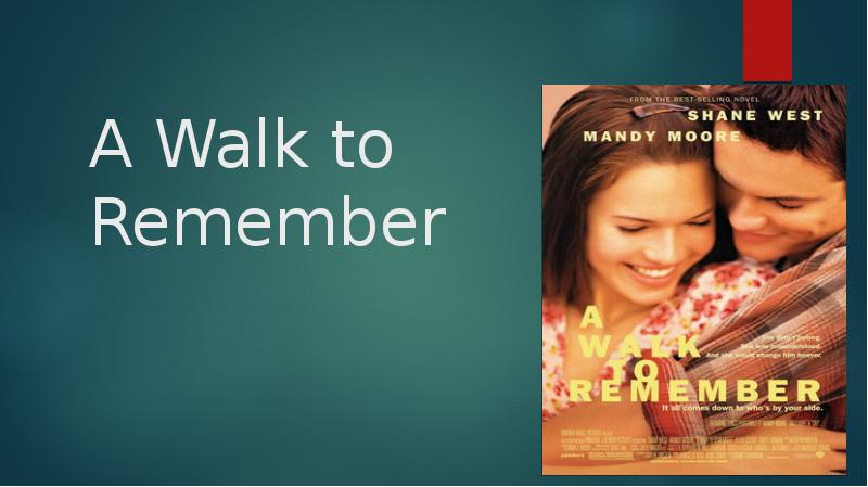 a walk to remember describe the A walk to remember is a 2002 american coming-of-age romantic drama film directed by adam shankman and written by karen janszen, based on nicholas sparks' 1999 novel a walk to remember the film stars shane west, mandy moore, peter coyote and daryl hannah, and was produced by denise di novi and hunt lowry for warner bros pictures.