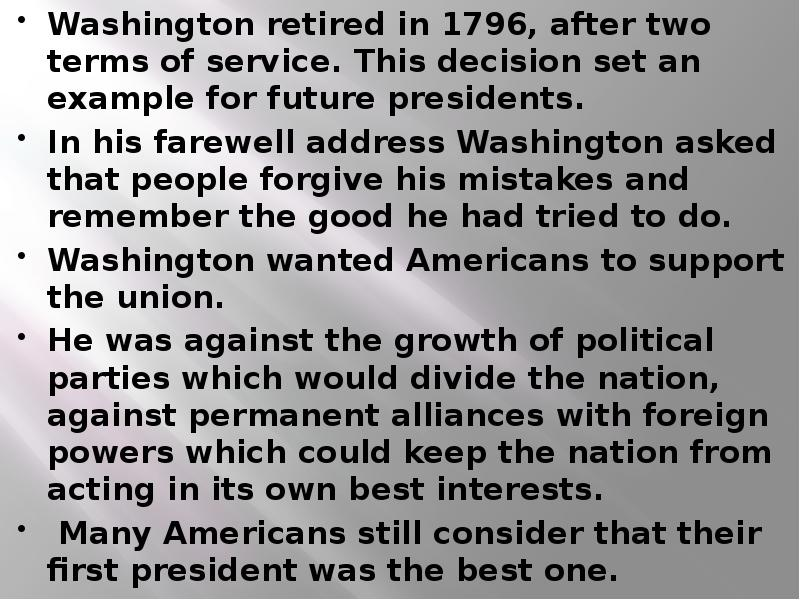 washingtons farewell address essay George washington's farewell address (there is an outline and a select dictionary at the end of you have improved upon your first essay by the adoption.