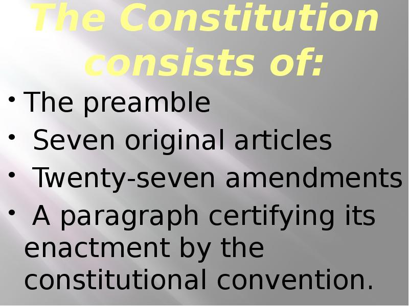 a discussion on the importance of the preamble to the constitution to the united states What are the first 7 words of the preamblewe the people of the united states the 1st article gives powers to make laws to whom the constitution guarantees what to every state a republican form of government the constitution forbids congress to lay a tax on.