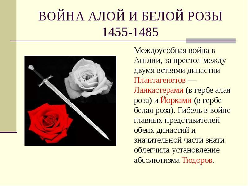 Война алых и белых роз доклад 9167