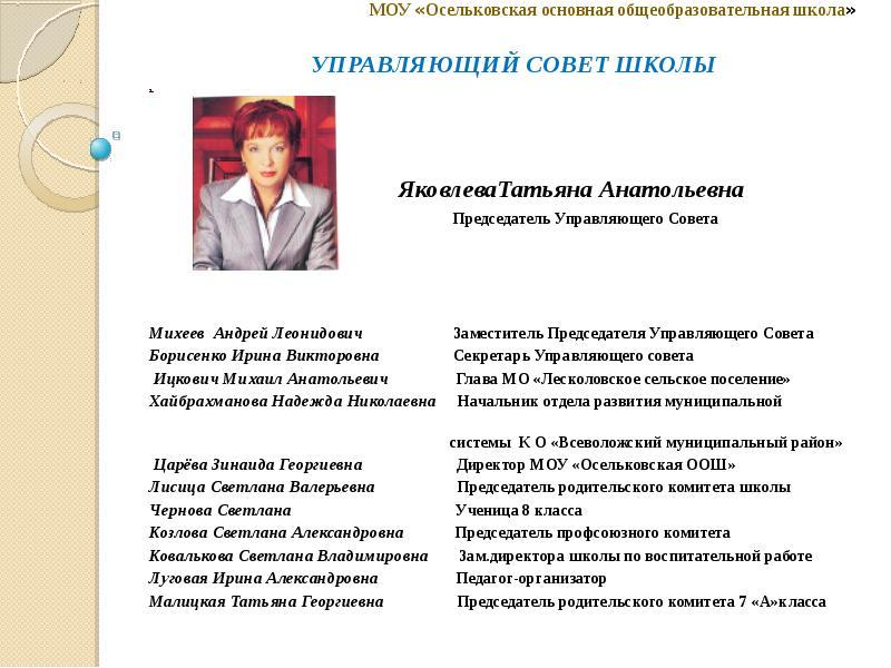Доклад председателя управляющего совета школы 7264