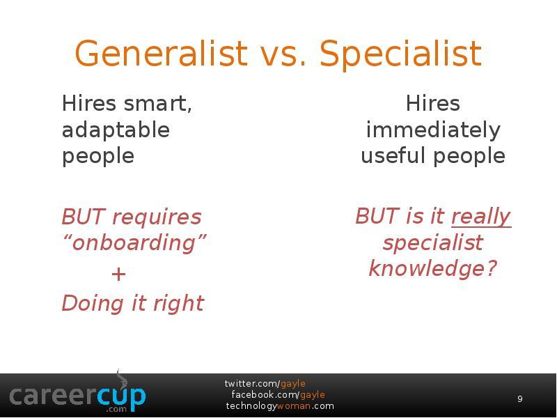 generalists or specialists essay Individuals searching for hr coordinator vs hr generalist  both hr coordinators and hr generalists, like other hr specialists,  online novel and essay.