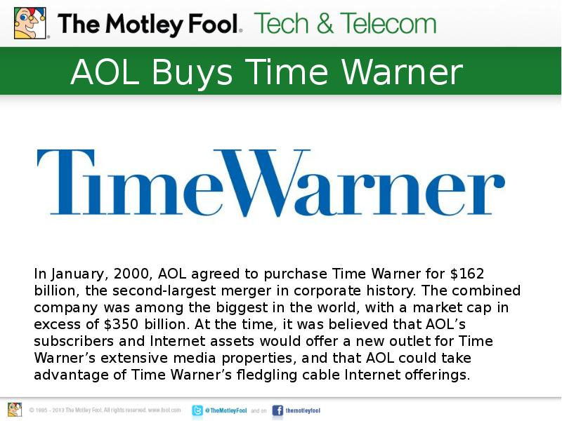 a background of the aol time warner merger Company background time warner inc is one of the aol purchased time warner for $164 billion this merger was by tapping into aol, time warner would.