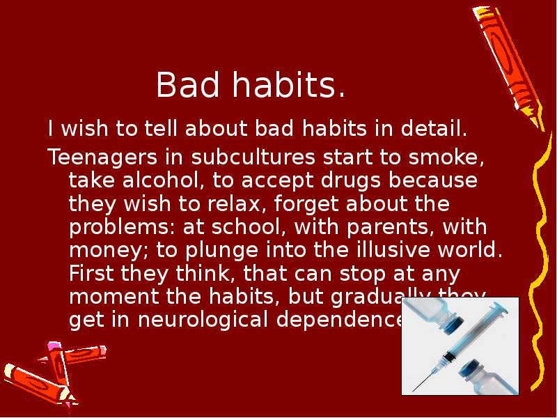"""effects of bad habits Bad habits are hard to break because they are habits (with a capital h) remember: your brain has put your bad habit in the """"automatic"""" category once there, it's difficult to shake it free."""