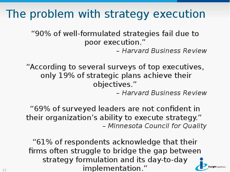 were there problems with strategy formulation were there problems with strategy implementation were  Potential problems and solutions for strategy implementation though strategy implementation can be important for a company, there can the authors point out that bad strategy implementation can lead to future faulty strategy formulation, potentially creating a vicious circle.