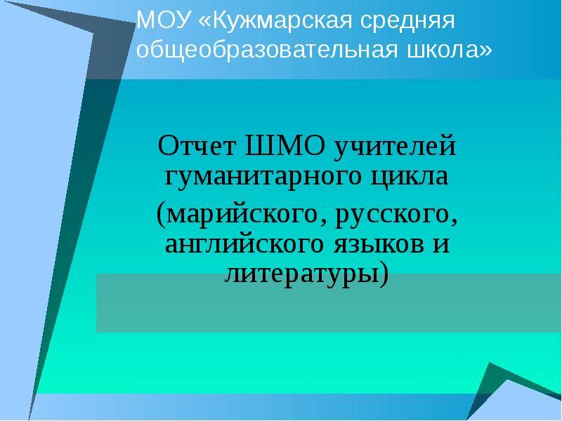 Доклад на шмо учителя русского языка и литературы 4247