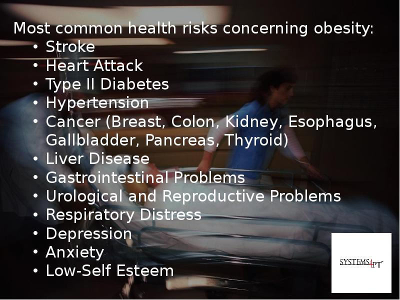 obesity is of serious concern Obesity is a major risk factor for several of today's most serious health conditions and chronic diseases, including high blood pressure, high cholesterol, diabetes, heart disease and stroke, and osteoarthritis.